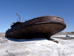 graham bell's icy rusty resting place (subarcticmike) Tags: churchill manitoba beached ship grahambell rusty blue sky ice tidewater shipping channel travel geotagged subarcticmike government tugboat ww2 2014 iceicebaby 6ws sixwordstory