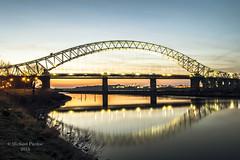 Bridage at Dusk (mickyfooj) Tags: longexposure bridge sunset evening nikon cheshire dusk runcorn halton runcornbridge silverjubileebridge