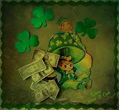 "Theme #57 - ""GREENBACK BOOGIE"" (cleofysh) Tags: decorations irish money green home rainbow bc treasure folklore pixie elf fairy burnaby boogie shamrocks mischief stpatricksday leprechaun greencoat greenback greenhat littleoldman potofgold irishmythology magicalpowers photobysue usacurrency themebysharleen"