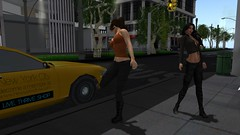 Gumboot (alexandriabrangwin) Tags: world street city orange newyork silly computer gum out island 3d graphics funny afternoon tank pants stuck boots top manhattan cab taxi cargo secondlife virtual chewing avenue 5th cgi freaking mondybristol alexandriabrangwin