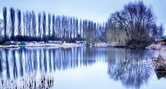 Campbell Inkblot (cris.gerrard) Tags: longexposure trees reflection canal miltonkeynes willow slowshutter inkblot barge nd6 campbellpark littlestopper