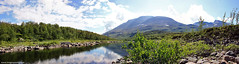 Summer panorama (Magnus Emln) Tags: world trip blue summer sky panorama sun sunlight mountain mountains tree green heritage water clouds river warm forrest hiking swedish hike lapland birch magnus laponia emln
