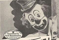 Guaranteed by Good Housekeeping, 1943 (STUDIOZ7) Tags: scary bureau circus clown ad creepy advertisement 1940s seal forties 40s goodhousekeeping