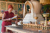 Slicing The Butter For The Votive Lamps (Nick Mayo/RemoteAsiaPhoto) Tags: india festival monk offering tawang arunachalpradesh monpa