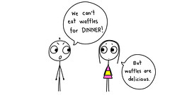 Man Assaults Wife With Waffle (thedailyenglishshow) Tags: people illustration dinner sketch couple drawing cartoon illustrations drawings anger apron whitebackground angry stickfigure argument waffles disappointment tdes1418sn2