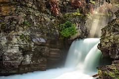 St. Mary's Falls (M@ H) Tags: glaciernationalpark stmarysfalls waterfall stmaryriver stream sunbeam sunlight leendfilter lightroom landscape water slowshutter nationalparks outdoors montana nd filter