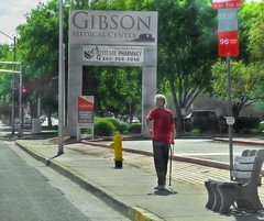 Man In A Red Shirt  214/366 (It Sure Feels Like Fall, Love It!!!) Tags: 366the2016edition man shirt red street cane bench signs trees sidewalk hydrant yellow light 3662016 day214366 1aug16