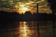 Sunset... (hobbit68) Tags: sonne sky main outdoor sonnenschein clouds wasser wolken frankfurt alt sommer ufer himmel haus gebude sonnenuntergang fluss sunset baum river sony