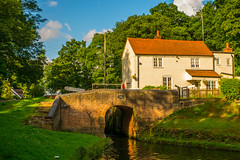Hyde Lock,Kinver (williamrandle) Tags: uk bridge trees summer england sky building green water beautiful architecture clouds reflections canal woods woodlands nikon gate arch shadows outdoor lock cottage steps peaceful shade serene staffordshire westmidlands banks towpath waterways kinver 2016 southstaffordshire lockkeeperscottage lushfoliage d7100 hydelock tamron2470f28vc staffordshireworcestersahirecanal