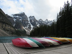 Canoes at Lake Moraine (chelseasmith23) Tags: lake moraine canada banff national park canoes granola mountains forrest