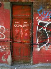 Red Door (geowelch) Tags: toronto chinatown urbanfragments door graffiti panasoniclumixgx1 olympus17mmf28