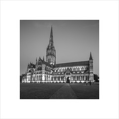 Salisbury Cathedral (andyrousephotography) Tags: longexposure blackandwhite bw architecture canon square eos conversion cathedral 5d salisbury format bluehour mkiii