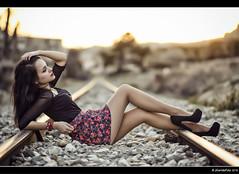 Elena - 2/3 (Pogdorica) Tags: tren chica retrato modelo elena campo sesion morena vias posado