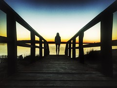The reckoning~ Sardinia (~mimo~) Tags: bridge italy beach girl silhouette mobile sunrise island dock sardinia geometry iphone humansingeometry