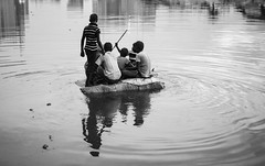 Hope Life. Dhaka, 2016. (rahat_kabeer) Tags: hope life dhaka bangladesh 2016 water boat highrisk evening short time canon canon6d 50mm bnw gulshan lake