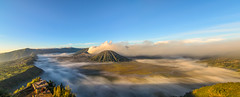 Mount Bromo Panorama (narenrit) Tags: bromo mountain mist light sun sunrise cloud sky morning valcano tree view beauty hill top scenic indonesia tropical asia asian east cliff travel trip mount panorama