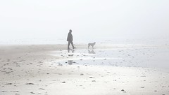 Fog Walker ! (Marra Man) Tags: seamist cocklawburnbeach scremerston dogwalker
