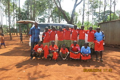 Donated soccer shirts and balls