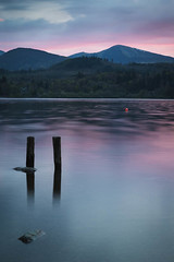 Two (ChrisDale) Tags: wood longexposure pink sunset sky sun mountain lake colour reflection water rock stone evening twilight dusk derwent hill lakedistrict reflected shore cumbria derwentwater ripples posts keswick buoy eveninglight woodenposts chrisdale chrismdale