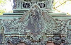 The mourning widow - verdigris relief sculpture on a grave (Monceau) Tags: cimetireduprelachaise prelachaise mourning widow relief sculpture verdigris gravemonument veiled