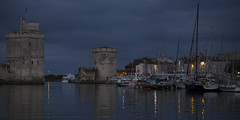La Rochelle (blue hour) (Michel Couprie) Tags: sea mer france reflection tower architecture night port canon boats eos harbor tour towers reflet reflect bluehour larochelle michel charente couprie