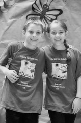 2016-04-07 (169) Fred D ES 2nd grade show (How Does Your Garden Grow) evening (JLeeFleenor) Tags: photos photography virginia va leesburg loudouncounty frederickdouglass elementaryschool twins inside indoors youthactivities youth skit bw blackwhite monochrome