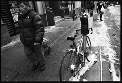 one day in chinatown (-{ ThusOriginal }-) Tags: 135 28mm bw bicycle bike blackandwhite cart city f3t film fujineopan1600 monochrome nyc parkingmeter snow street thusihaveseen winter thusoriginal newyork scan