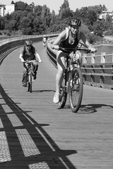 IMG_8854 (TMM Cotter) Tags: blackwhite gorge waterway selkirk waterfront bridge trestle galloping goose trailcommuter cyclists victoria bc