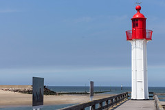 Lighthouse. Trouville, Normandie, France (martine_vise) Tags: lighthouse red blue trouville normandie france pier woodenpier sea sunday funday beautifulview depopulated walk beach sun bluesky phare extrieur