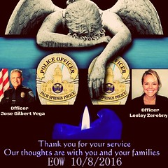 Our thoughts and prayers are with the Palm Springs Police Department, CA following the loss of two police officers who were fatally shot while responding to a domestic disturbance call. Officer Jose Gil Vega - 63 yrs old, 35 yr veteran (Set to retire in D (standingbears) Tags: palmsprings eow rip pspd