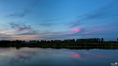 Blue hour with touch of red (BraCom (Bram)) Tags: bracom bluehour blauweuurtje trees bomen cloud wolk water reflection spiegeling plas poel puddle clouds wolken evening avond summer zomer reed riet windmill windmolen stadaanhetharingvliet watergat goereeoverflakkee zuidholland nederland southholland netherlands holland canoneos5dmkiii widescreen canon 169 canonef24105mm bramvanbroekhoven nl