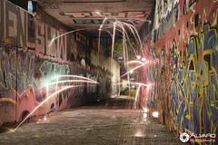 Explosin de Color (lvaro (Photographer & Graphic Designer)) Tags: larga exposicin long expo longexpo noche night nocturna madrid lana acero steel wal whall fire ciudad city grafitti hormign calle street