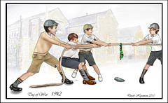 TUG O' WAR 1942 (Derek Hyamson) Tags: game boys painting fun play drawing computergenerated cartoon pals games stylus 1942 tablet mates boyhood gangs youngboys tugowar schooldays painterclassic pe8 1942styleclothing