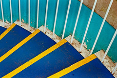 steps- Explored 23/03/15 Number 235 thanks all! (jimj0will) Tags: steps minimal minimalist design pattern blue yellow diagonal geometric shapes peeling paint peelingpaint peel color colour