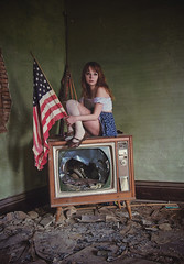 (yyellowbird) Tags: house selfportrait abandoned girl television america illinois flag lolita cari