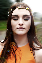 close up (StyleBlah) Tags: flowers orange woman church floral girl field car fashion vintage hair lens model woods shoot colours contemporary makeup style sunflowers flare daisy 70s morris minor daisys