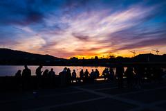 At the Sechseluten in Zurich (Werner_B) Tags: light sunset orange sun dawn schweiz switzerland evening abend sonnenuntergang outdoor zurich gelb dmmerung zrich sonne stimmung abendstimmung sechseluten bgg wernerbuchel