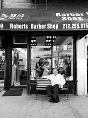 """Robert's Barber Shop."" (B.C. Lorio) Tags: nyc newyorkcity blackandwhite chelsea manhattan streetphotography cellphone samsung barbershop mobilephone vsco galaxynote4"