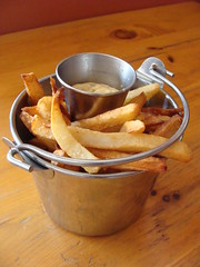 Bucket of Fries (knightbefore_99) Tags: wood food france hot french table lunch restaurant bucket tasty potato fries kitsilano dip aioli lacigale