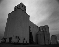 Expressionistic Grain Elevator (Toms Harrison Fotos) Tags: misty dumas us texas unitedstates tx overcast grainelevator expressionistic mamiyarb67pros hoya25a mamiyasekor50mmf45 epsonv800 silverfastaistudio8