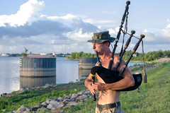 morning-piper (swanlefitte) Tags: bagpipes pentaxks2 pentaxda40mmxs bywater neworleans music mississippiriver