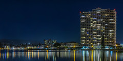 1200 lakeshore at dusk (pbo31) Tags: oakland california eastbay alamedacounty bayarea nikon d810 color july 2016 summer boury pbo31 urban night black lakemerritt reflection 1200 lakeshore structure apartments lake blue panoramic large stitched panorama yellow