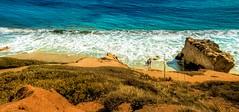 Pacific Hillside (Indiana Photographer) Tags: ocean blue cliff brown green water rock pacificocean hillside proportion pacificcoast matadorbeach