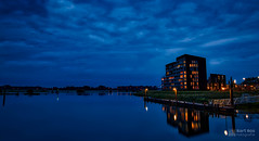 Blue hour long exposure HDR of Pothoofd Deventer. (Bart Ros) Tags: city blue sky reflection building water beautiful landscape cityscape hour deventer ijssel overijssel