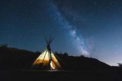 Tipi and The Milky Way - Cody, Wyoming (Bradley Easom) Tags: milkyway night sky nightsky stars longexposure tipi river wyoming