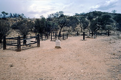 Unknown cemetery in S.A. in 1990 (Stefan Ulrich Fischer) Tags: 35mm australia downunder oz outback kodakektachrome minoltaxd7 outdoor analogue scanned abandoned slide southaustralia unknown rip cemetery