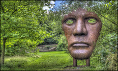 Burghley Face Sculpture (Darwinsgift) Tags: burghley house estate garden sculpture sculptures lincolnshire cambridgeshire stamford hdr photomatix pro 5 england uk surreal voigtlander 58mm f14 nokton sl ii