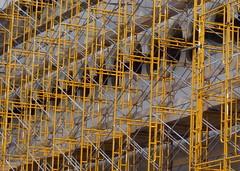 Yellow Scaffold (TheMachineStops) Tags: yellow 2013 outdoor nyc manhattan newyorkcity scaffold westvillage 10011