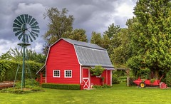 Back Yard Perfection (Paul Rioux) Tags: chilliwack fraservalley back yard barn shed architecture building outdoor prioux windmill landscaped trees clouds lawn