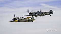 Focke-Wulf Fw 190 A-5 & Messerschmitt Bf 109 E-3 (Emil) (Hawg Wild Photography) Tags: messerschmitt bf 109 e3 emil fockewulf fw 190 a5 flyingheritagecollection german wwii aircraft fighter fighters painefieldairportkpae terrygreen nikon nikond4s 70200mm vr kevin eldridge john penny